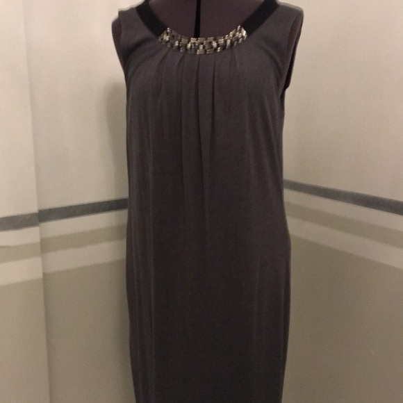 LOFT Dresses & Skirts - Charcoal grey Shift size m 6-8 scoop neck and bow